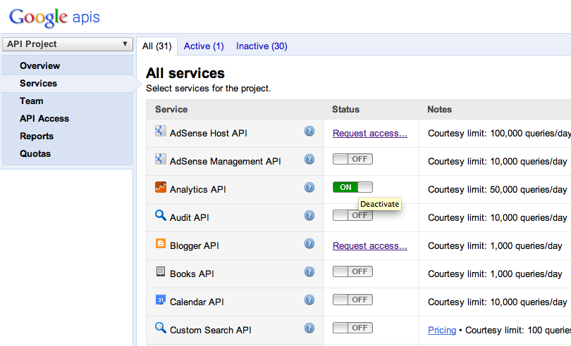 select services and check analytics api select - Php Beispiel